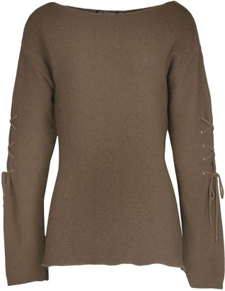 Fashion Star Womens Ladies Chunky Knitted Boat Neck Long Sleeve Eyelet Pullover Jumper Top Khaki