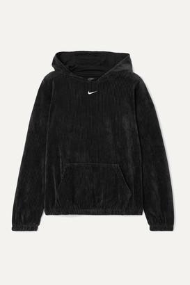 Nike Ribbed Cotton-blend Velour Hoodie - Black