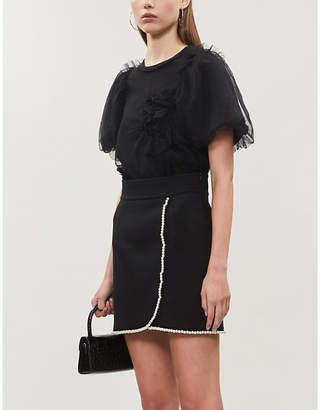 Sandro High-waist faux pearl-trimmed stretch-twill mini skirt