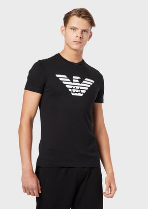Emporio Armani Pima Cotton Jersey T-Shirt With Printed Logo