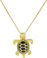 JCPenney FINE JEWELRY 1/10 CT. T.W. Color-Enhanced Black & Green Diamond Turtle Pendant Necklace