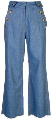 Derek Lam 10 Crosby Button Pocket Cropped Jeans