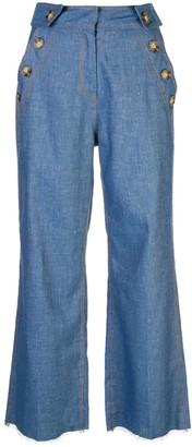 Derek Lam 10 Crosby Slim Denim Culotte With Button Detail