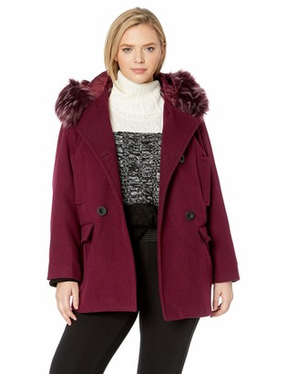 Details Women's Plus Size Double Breasted Faux Wool Peacoat