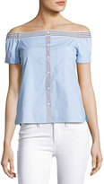 Bailey 44 False Start Short-Sleeve Off-the-Shoulder Shirt, Sky