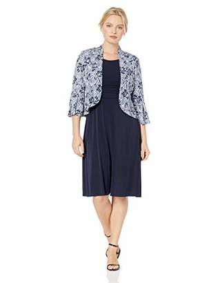 Jessica Howard Women's Petite Flutter Sleeve Ruched Waist Jacket Dress