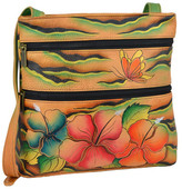 Anuschka Hand-Painted Leather Small Double Zip Travel Crossbody
