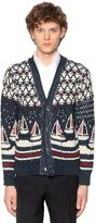 Thom Browne Sailboats Wool Mohair Jacquard Cardigan