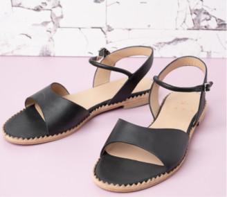 Cara Jet Black Annie Sandal - 38 - Black/Brown/Leather