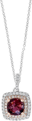 Effy 14K Rose & White Gold Diamond & Rhodolite Necklace