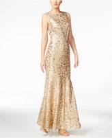 Calvin Klein Floral Sequined Gown