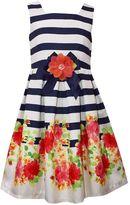 Bonnie Jean Girls 7-16 Striped Floral Shantung Dress
