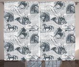 Grey Decor Curtains By Ambesonne, Different Kind Of Nostalgic Gentle Horses On Calligraphic Vintage Styled Background Home, Living Room Bedroom Decor, 2 Panel Set, 108W X 90L Inches, Grey White
