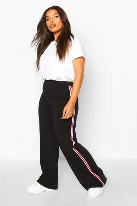 boohoo Plus Soft Rib Side Stripe Trousers