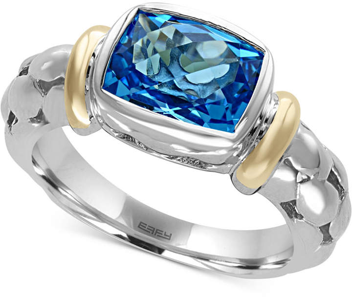 Effy Ocean Bleu Blue Topaz Ring in Sterling Silver and 18k Gold