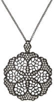 Effy Diamond Openwork Flower Pendant Necklace (5/8 ct. t.w.) in Black Rhodium Plated 14k White Gold