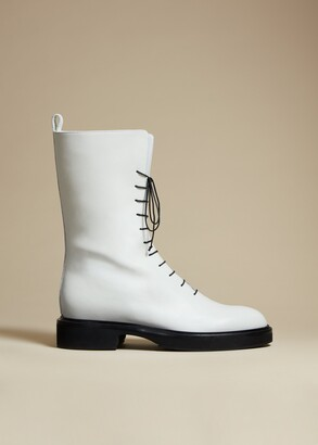 KHAITE The Conley Boot in White Leather