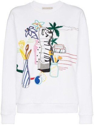 Mary Katrantzou Saker bead embroidered cotton sweatshirt