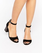 Miss KG Geena Ankle Black Strap Mid Heeled Sandals
