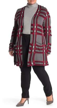Joseph A Plaid Patterned Double Knit Cardigan (Plus Size)