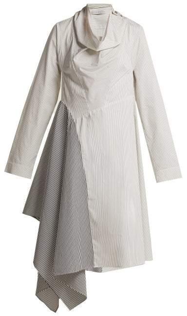 Palmer Harding Palmer//Harding Palmer//harding - Solar Contrast Stripe Cotton Shirtdress - Womens - Blue White