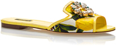 Dolce & Gabbana Leather Lemon Printed Slide with Jewel Toe