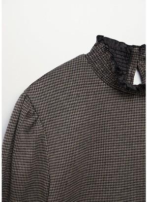 MANGO High Neck Jersey Check Top - Brown