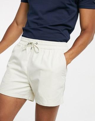 Selected drawstring waist short in ecru