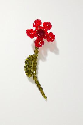 Simone Rocha Flower Gold-tone Crystal Single Earring - Red