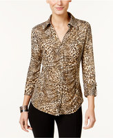 INC International Concepts Ruched Animal-Print Blouse, Only at Macy's