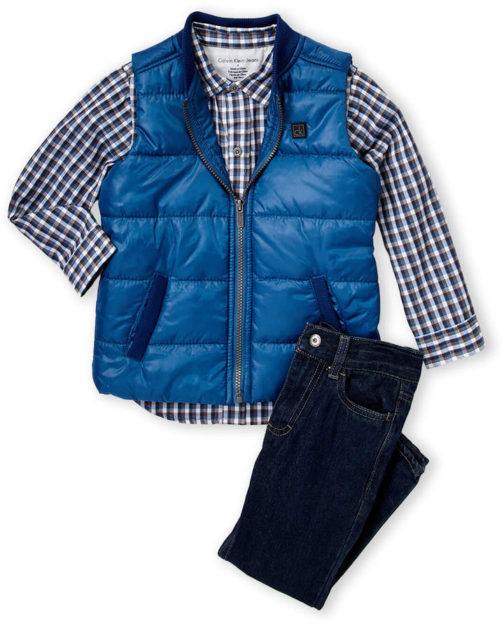 7 For All Mankind Boys Collared Vest 3-Piece Pants Set Outfit