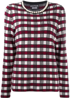 Boutique Moschino Check Long-Sleeve Jumper