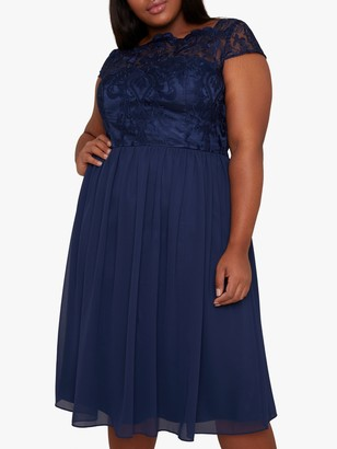 Chi Chi London Curve Lilou Lace Dress, Navy