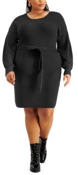 Full Circle Trends Trendy Plus Size Belted Sweater Dress