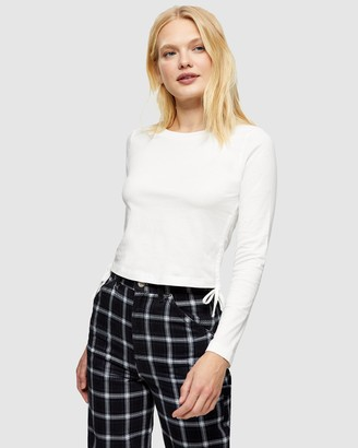 Topshop Women's White Basic T-Shirts - Side Ruched Long Sleeve T-Shirt - Size 6 at The Iconic