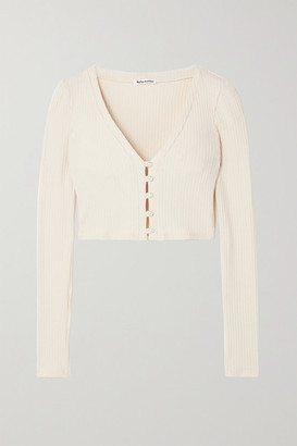 Reformation Net Sustain Calle Cropped Ribbed Stretch Organic Cotton And Tencel Lyocell-blend Top - Neutral