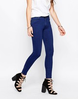 Just Female Mid Rise Storm Skinny Jeans in Pure Blue