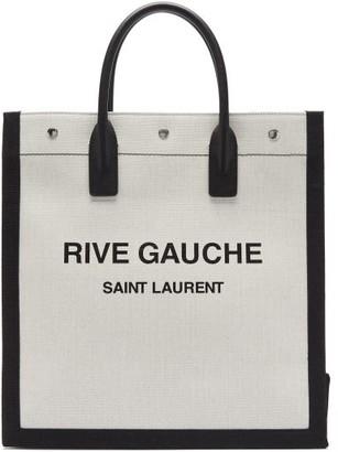 Saint Laurent Noe Logo-print Canvas Tote Bag - White Black