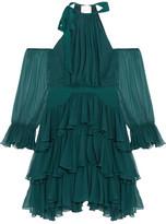 Cinq a Sept Elsa Tiered Silk Crepe-Paneled Ruffled Silk-Georgette Mini Dress