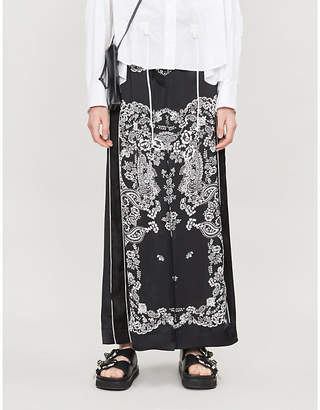 Sacai Paisley-print high-rise wide crepe trousers