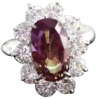 18K White Gold Alexandrite & 4.74ct Diamond Ring Size 6.5