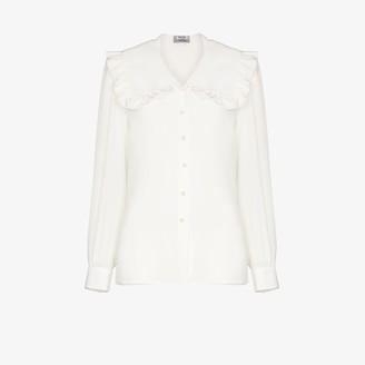 Miu Miu Oversized Collar Silk Blouse