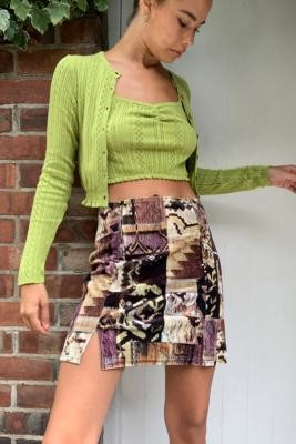 Urban Outfitters Velvet Patchwork Mini Skirt - Assorted XS at