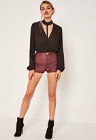 Missguided Burgundy Tube Coated Denim Shorts