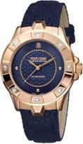 Roberto Cavalli DIAMOND BEZEL Women's Swiss-Quartz Leather Strap Diamond Watch