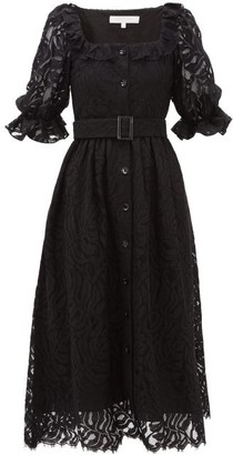 Borgo de Nor Corina Belted Lace Midi Shirt Dress - Black