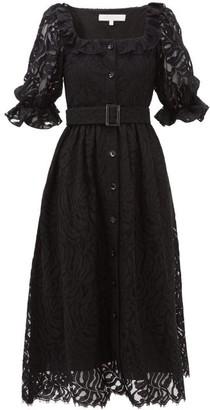 Borgo de Nor Corina Belted Lace Midi Shirtdress - Womens - Black