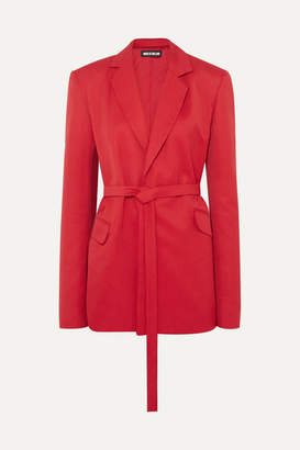 House of Holland Oversized Belted Canvas Blazer - Red