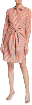 Lafayette 148 New York Brynlee Striped Tie-Front Shirtdress