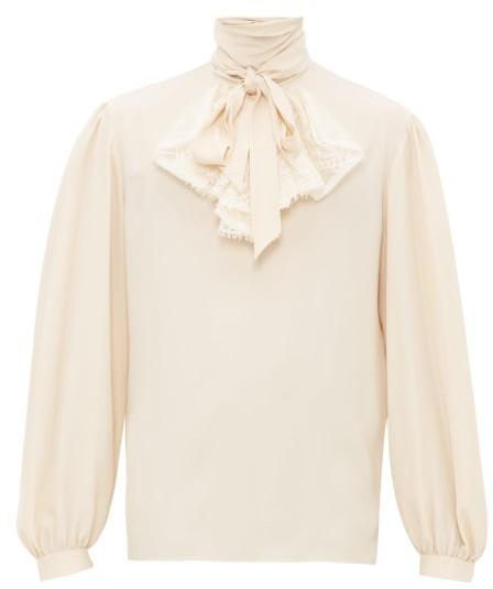 Gucci Lace-front Crepe Shirt - Mens - Cream